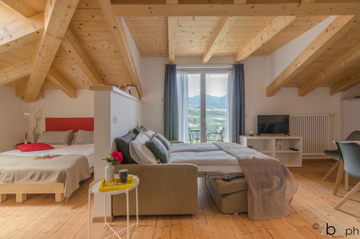 casa di montagna legno mansarda vacanza affitti brevi monolocale divanoletto